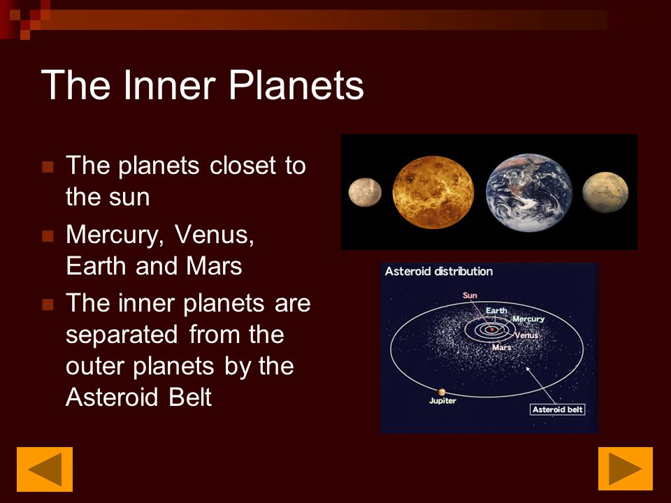 The Inner Planets The planets closet to the sun Mercury, Venus, Earth and Mars The inner planets are separated from the outer planets by the Asteroid Belt
