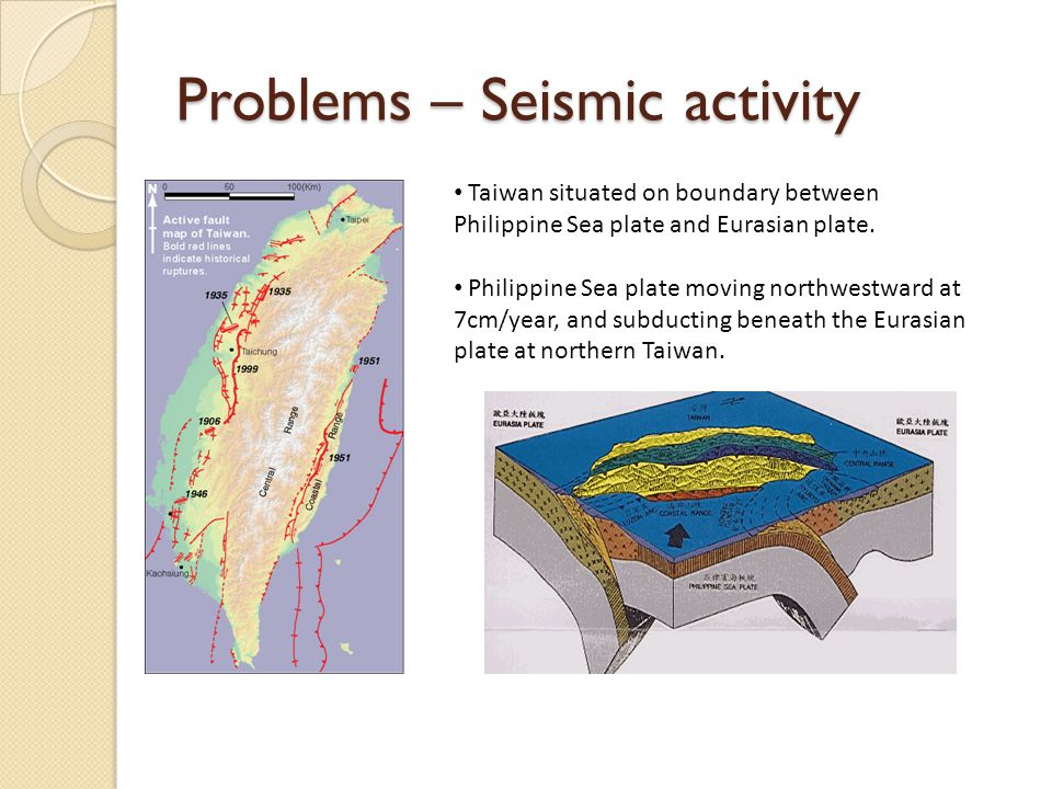 Taiwan situated on boundary between Philippine Sea plate and Eurasian plate. Philippine Sea plate moving northwestward at 7cm/year, and subducting ben