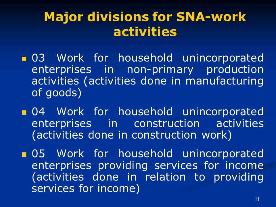 11 Major divisions for SNA-work activities 03 Work for household unincorporated enterprises in non-primary production activities (activities done in manufacturing of goods) 04 Work for household unincorporated enterprises in construction activities (activities done in construction work) 05 Work for household unincorporated enterprises providing services for income (activities done in relation to providing services for income)