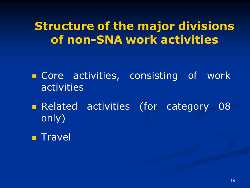 14 Structure of the major divisions of non-SNA work activities Core activities, consisting of work activities Related activities (for category 08 only) Travel