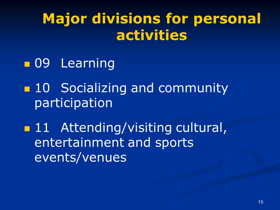 15 Major divisions for personal activities 09 Learning 10 Socializing and community participation 11 Attending/visiting cultural, entertainment and sports events/venues