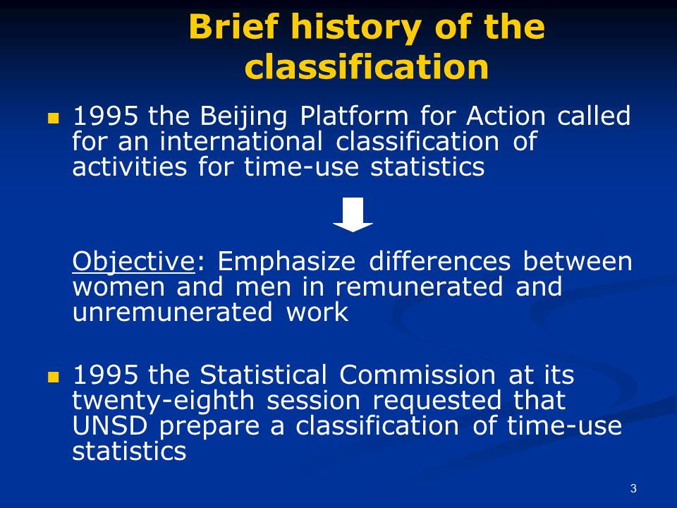 3 Brief history of the classification 1995 the Beijing Platform for Action called for an international classification of activities for time-use statistics Objective: Emphasize differences between women and men in remunerated and unremunerated work 1995 the Statistical Commission at its twenty-eighth session requested that UNSD prepare a classification of time-use statistics