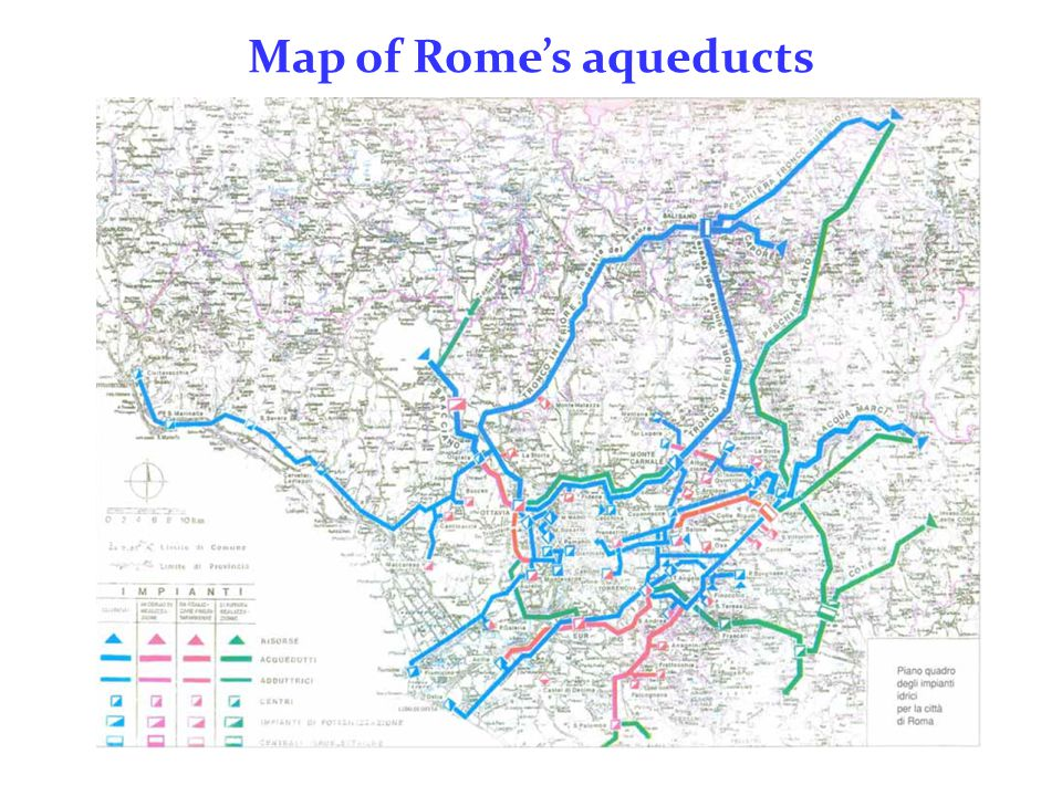 Map of Rome's aqueducts