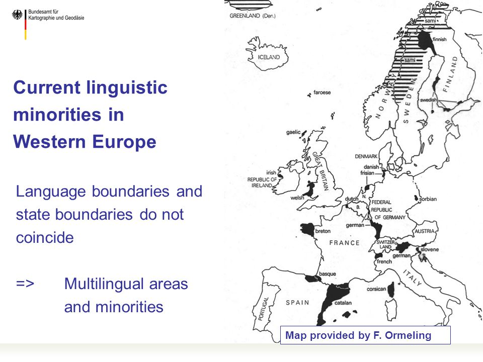 Current linguistic minorities in Western Europe Map provided by F.