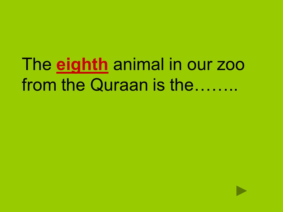 The eighth animal in our zoo from the Quraan is the……..