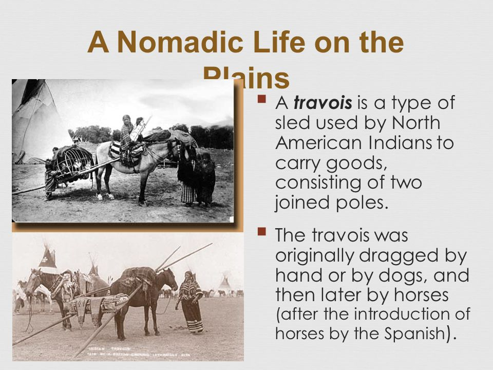 A Nomadic Life on the Plains  A travois is a type of sled used by North American Indians to carry goods, consisting of two joined poles.