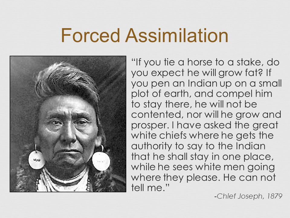 Forced Assimilation If you tie a horse to a stake, do you expect he will grow fat.