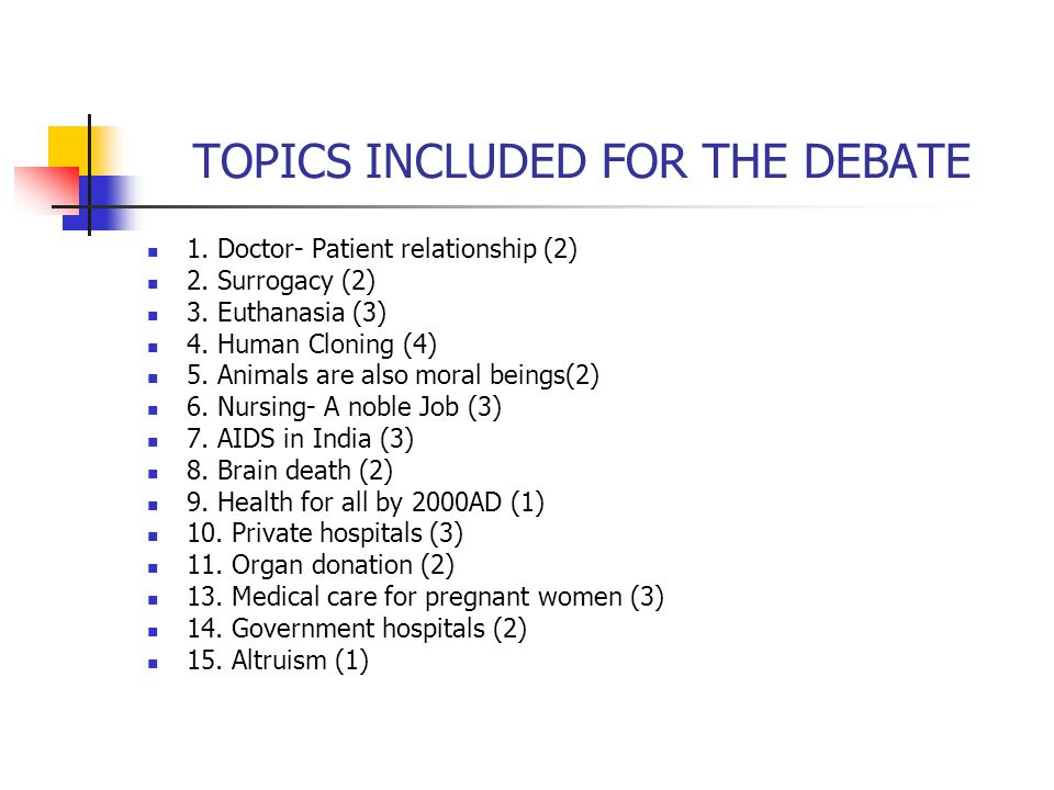 TOPICS INCLUDED FOR THE DEBATE 1. Doctor- Patient relationship (2) 2. Surrogacy (2) 3. Euthanasia (3) 4. Human Cloning (4) 5. Animals are also moral b