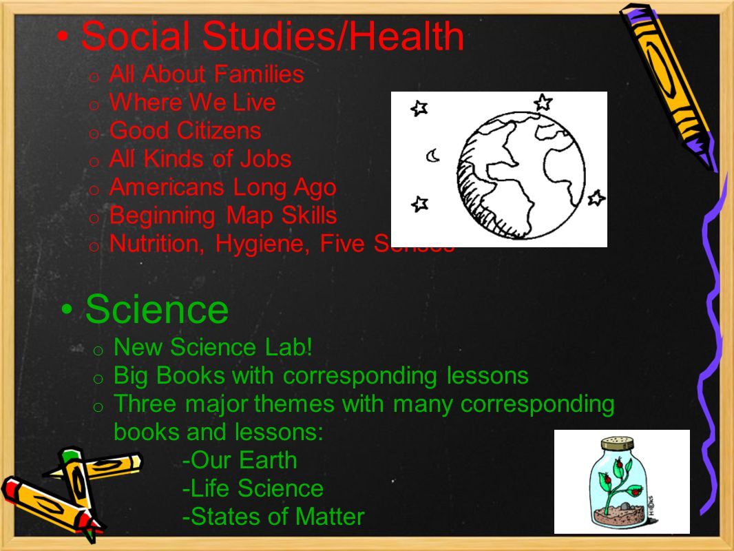 Social Studies/Health o All About Families o Where We Live o Good Citizens o All Kinds of Jobs o Americans Long Ago o Beginning Map Skills o Nutrition, Hygiene, Five Senses Science o New Science Lab.
