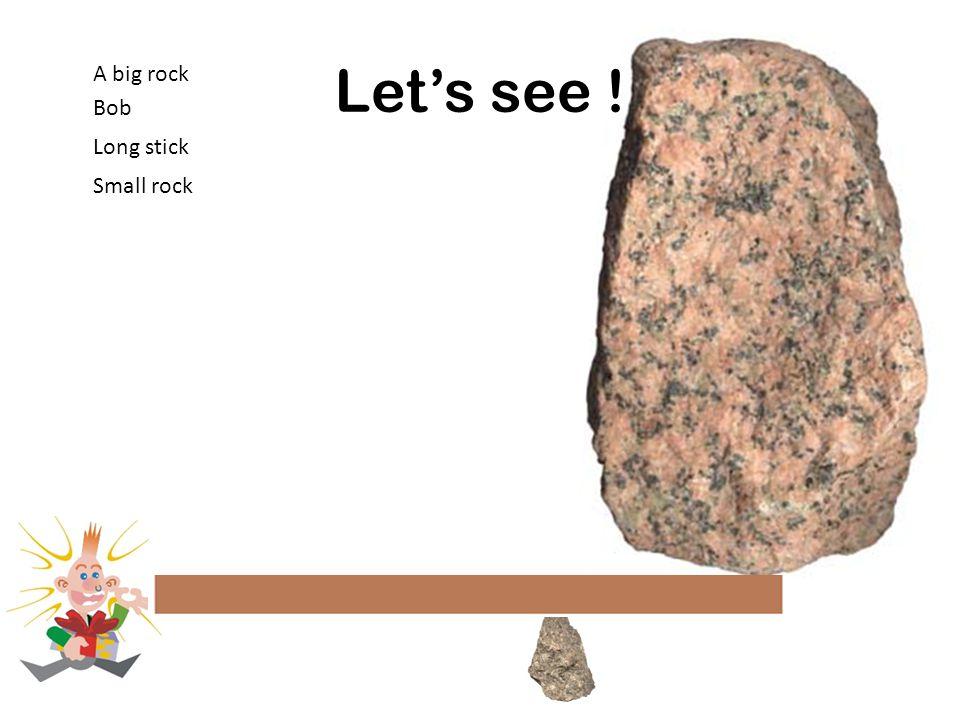 Let's see ! A big rock Bob Small rock Long stick