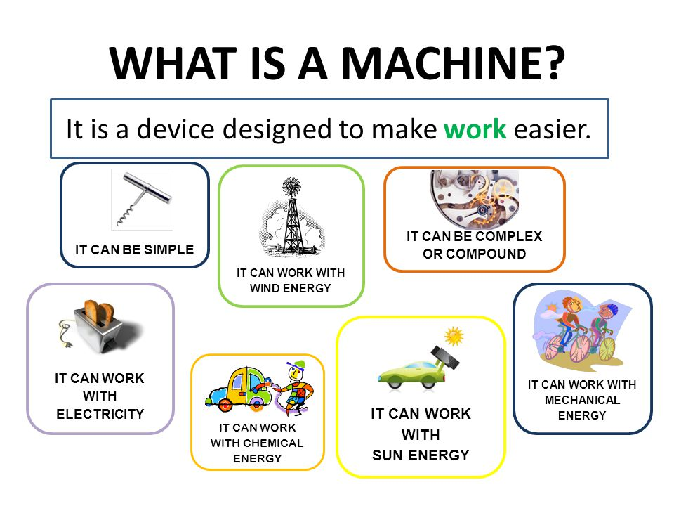 WHAT IS A MACHINE? It is a device designed to make work easier. IT CAN WORK WITH MECHANICAL ENERGY IT CAN BE COMPLEX OR COMPOUNDIT CAN BE SIMPLE IT CA