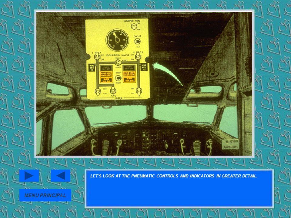 LET'S LOOK AT THE PNEUMATIC CONTROLS AND INDICATORS IN GREATER DETAIL. MENU PRINCIPAL