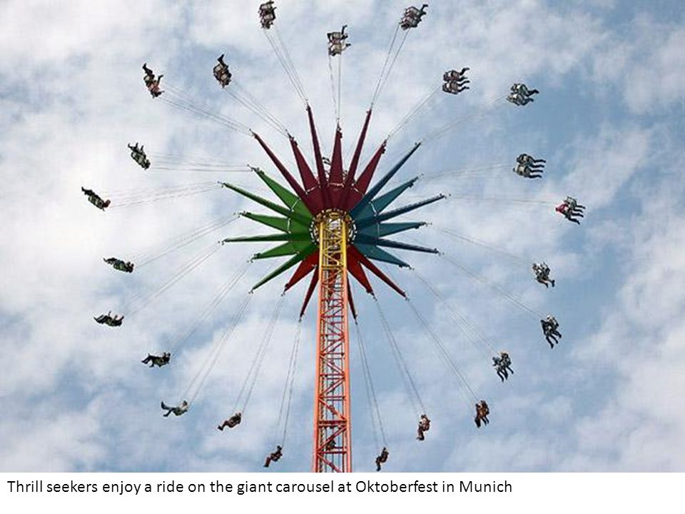 Thrill seekers enjoy a ride on the giant carousel at Oktoberfest in Munich