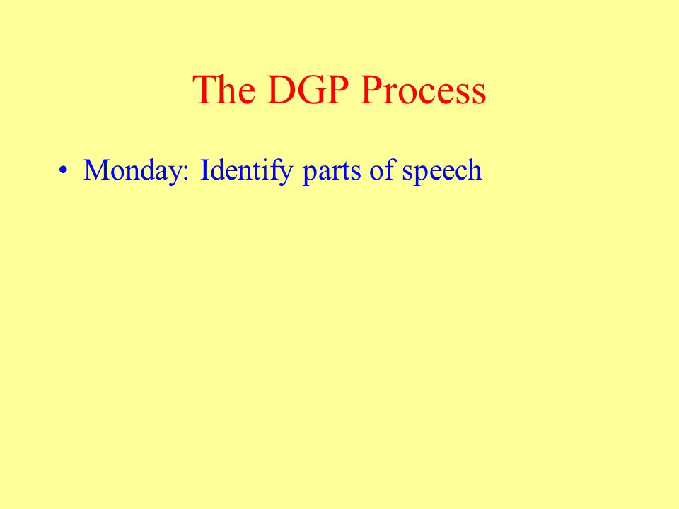 The DGP Process Monday: Identify parts of speech