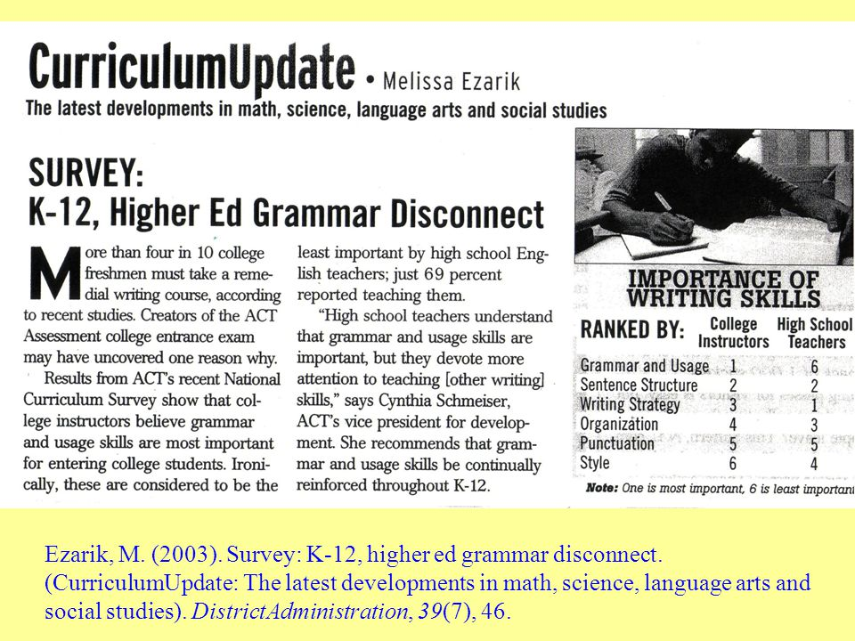 Ezarik, M. (2003). Survey: K-12, higher ed grammar disconnect.
