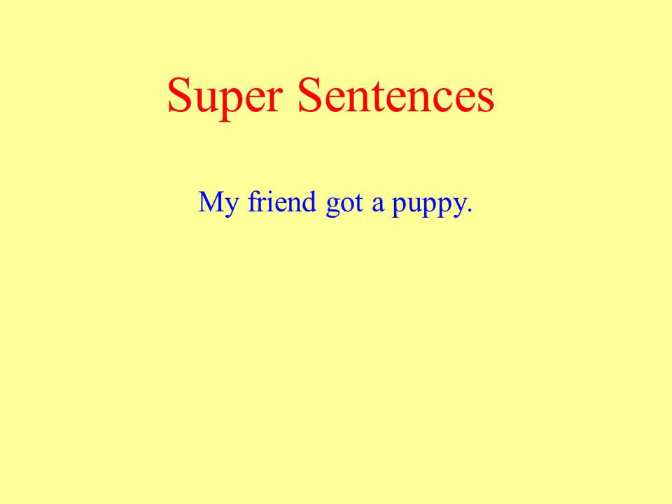 Super Sentences My friend got a puppy.