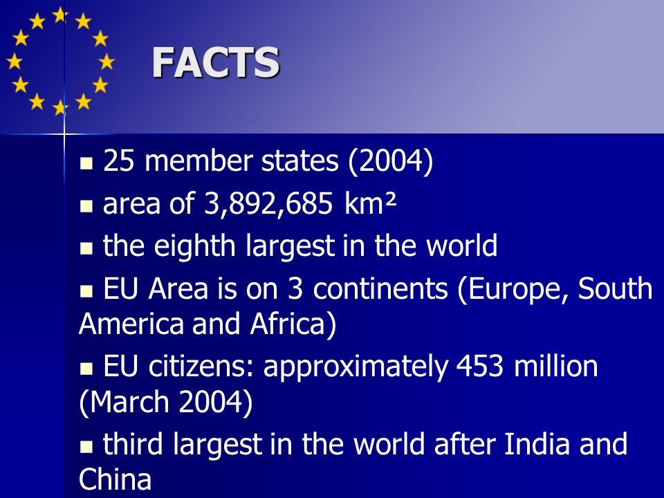 FACTS 25 member states (2004) area of 3,892,685 km² the eighth largest in the world EU Area is on 3 continents (Europe, South America and Africa) EU c