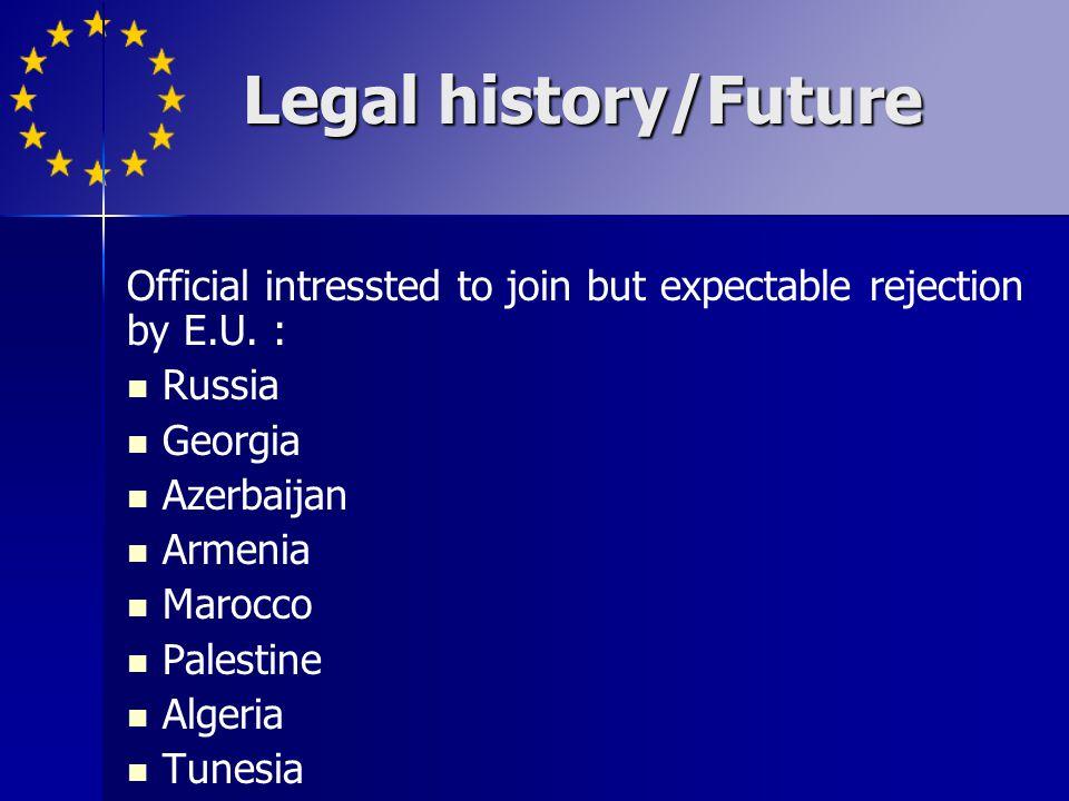 Official intressted to join but expectable rejection by E.U. : Russia Georgia Azerbaijan Armenia Marocco Palestine Algeria Tunesia