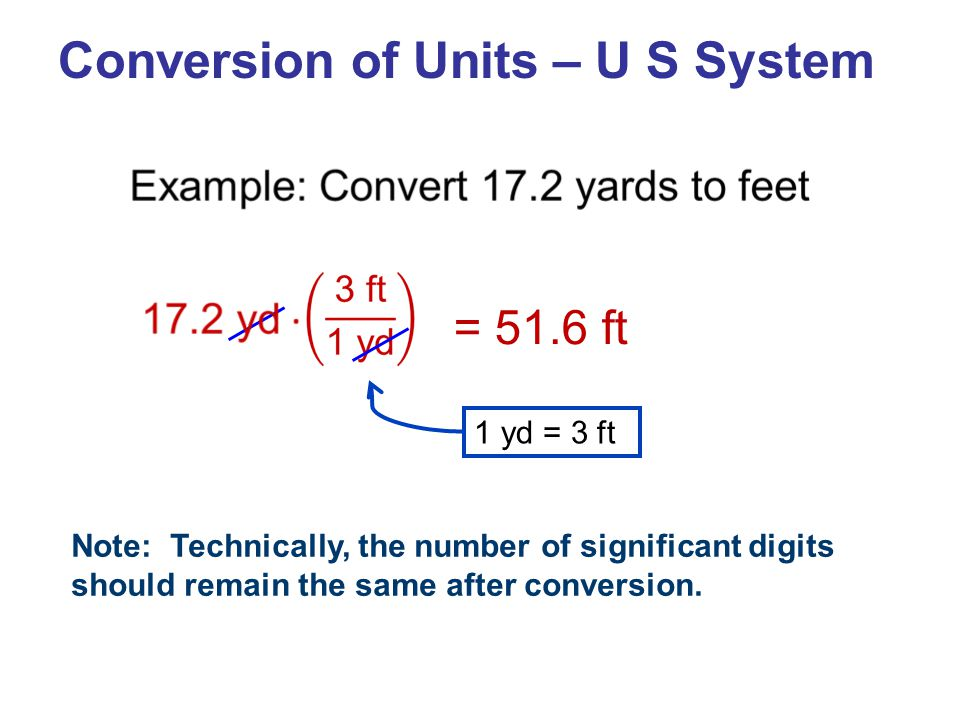 Conversion of Units – U S System Note: Technically, the number of significant digits should remain the same after conversion.
