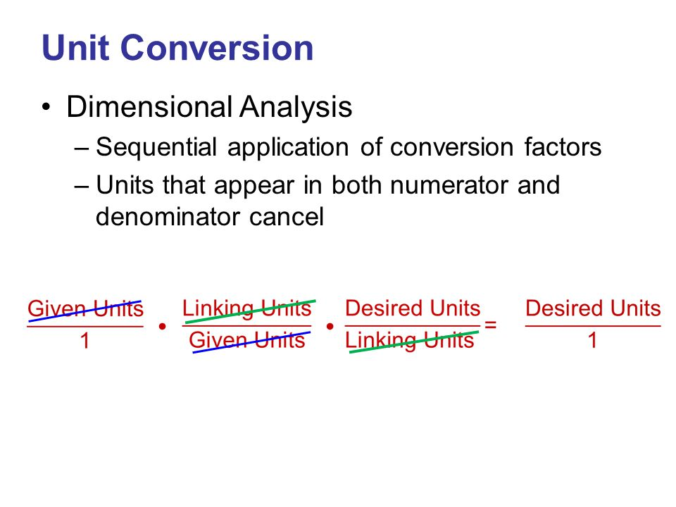 Unit Conversion Dimensional Analysis –Sequential application of conversion factors –Units that appear in both numerator and denominator cancel