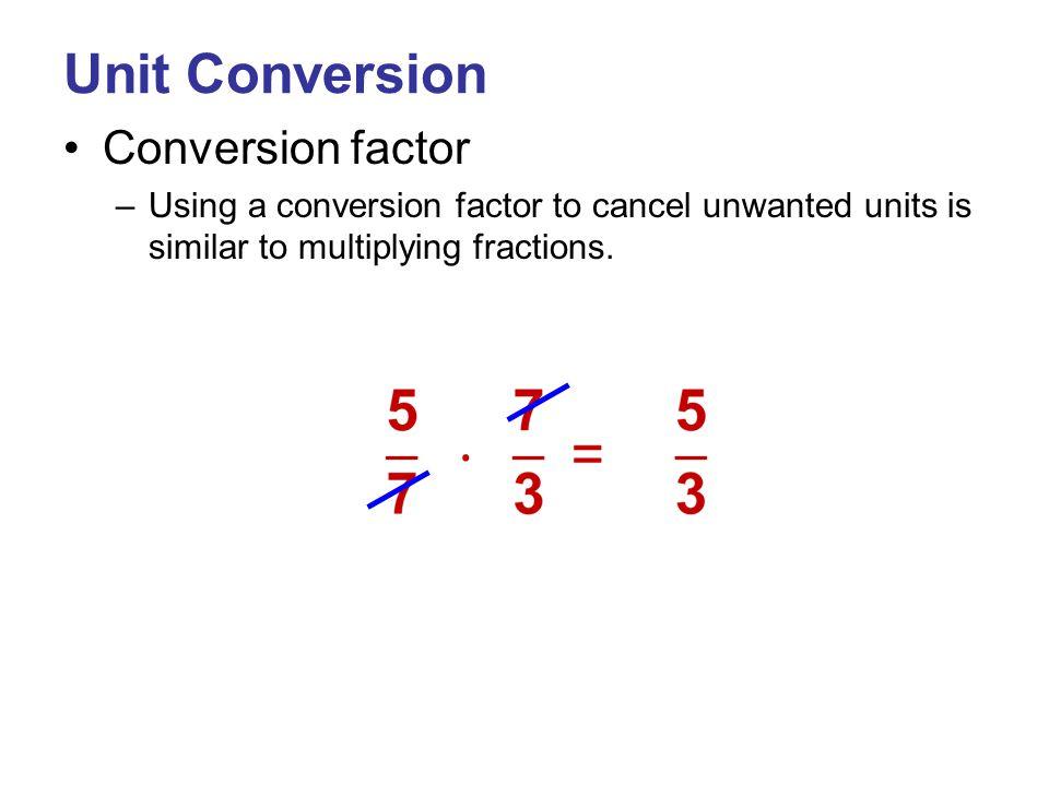 Conversion of Units – SI System Prefixes indicate the power of 10 Power of 10PrefixAbbreviation 10 1 deca-da 10 2 hecto-h 10 3 kilo-k 10 6 Mega-M 10 9 Giga-G Power of 10PrefixAbbreviation 10 -1 deci-d 10 -2 centi-c 10 -3 milli-m 10 -6 micro-µ 10 -9 nano-n Desired Unit Given Unit