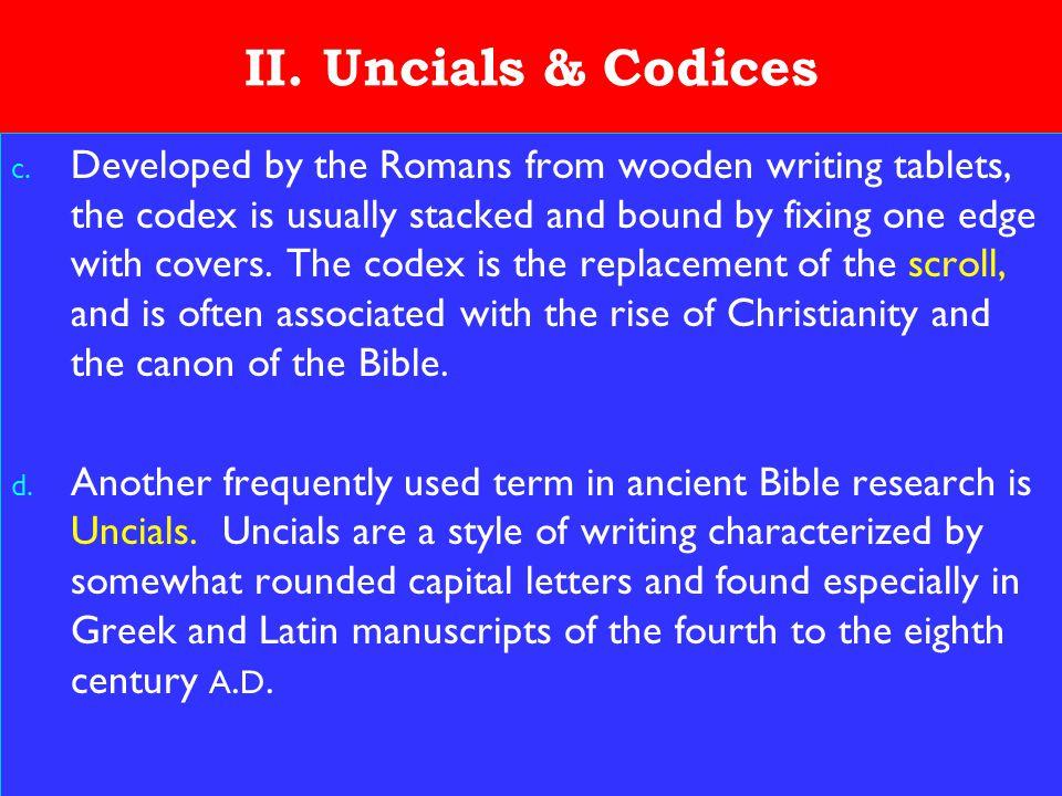 11 II. Uncials & Codices c.