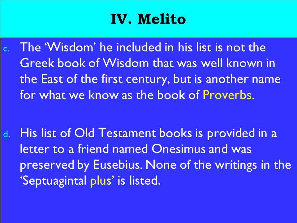 18 IV. Melito c.
