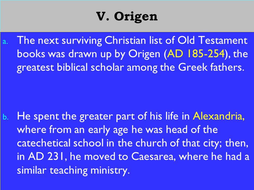 19 V. Origen a.