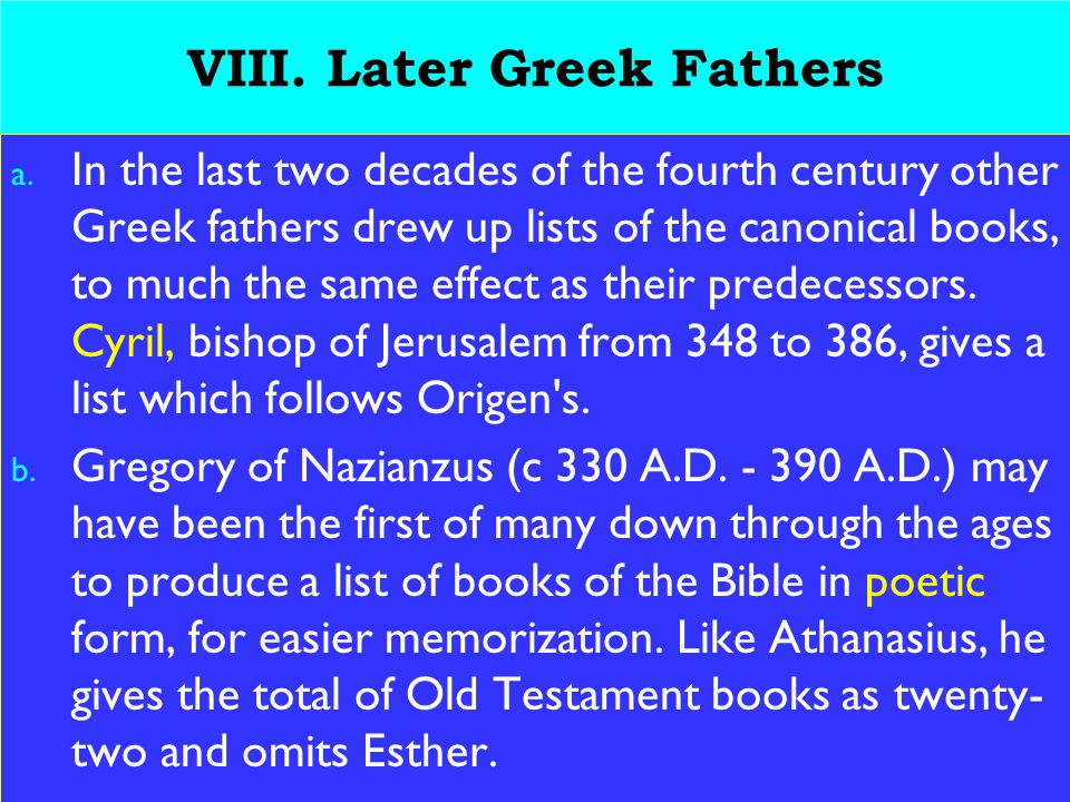 27 VIII. Later Greek Fathers a.