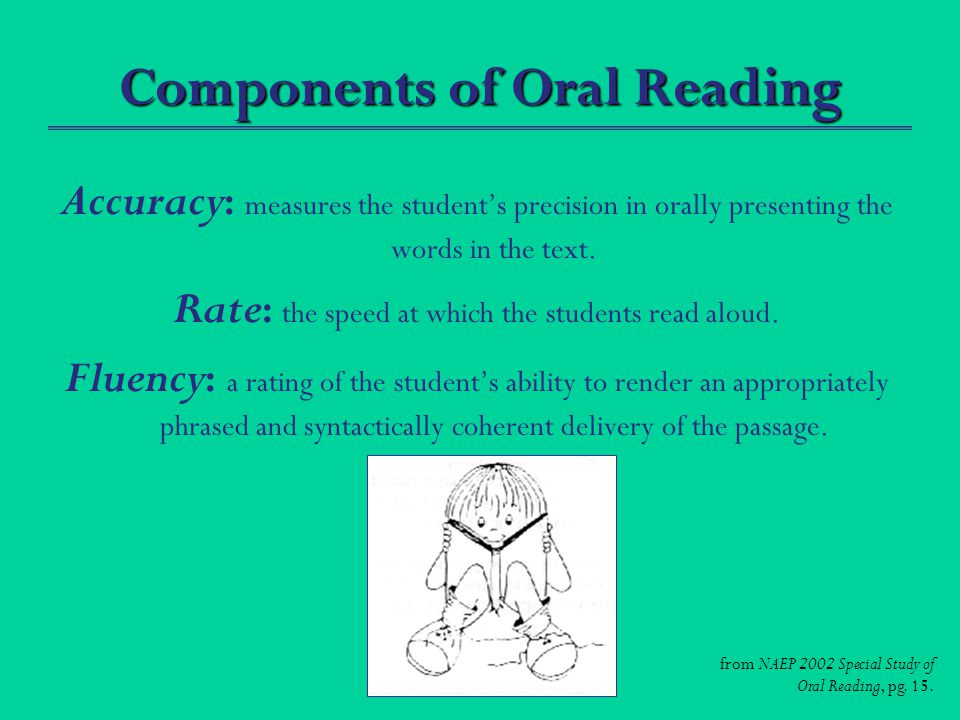 Components of Oral Reading Accuracy : measures the student's precision in orally presenting the words in the text.