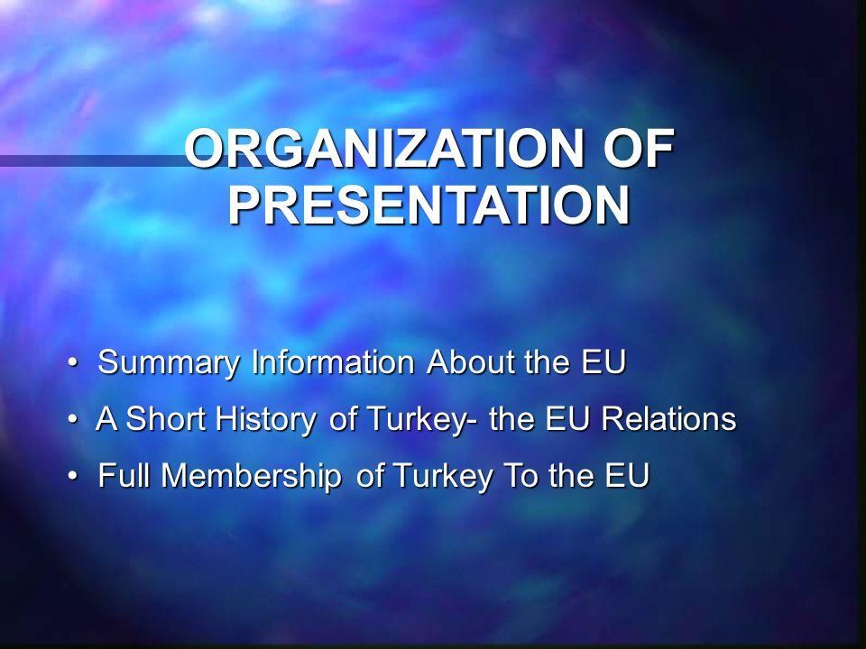 ORGANIZATION OF PRESENTATION Summary Information About the EU Summary Information About the EU A Short History of Turkey- the EU Relations A Short History of Turkey- the EU Relations Full Membership of Turkey To the EU Full Membership of Turkey To the EU