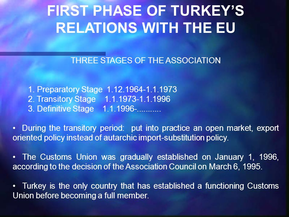 FIRST PHASE OF TURKEY'S RELATIONS WITH THE EU THREE STAGES OF THE ASSOCIATION 1.