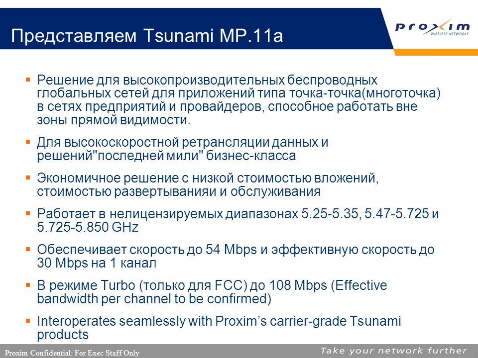 Proxim Confidential: For Exec Staff Only Представляем Tsunami MP.11a  Решение для высокопроизводительных беспроводных глобальных сетей для приложений типа точка-точка(многоточка) в сетях предприятий и провайдеров, способное работать вне зоны прямой видимости.