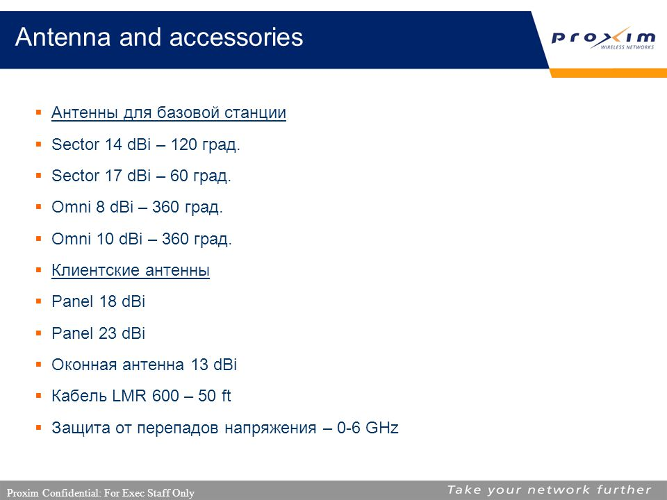 Proxim Confidential: For Exec Staff Only Antenna and accessories  Антенны для базовой станции  Sector 14 dBi – 120 град.