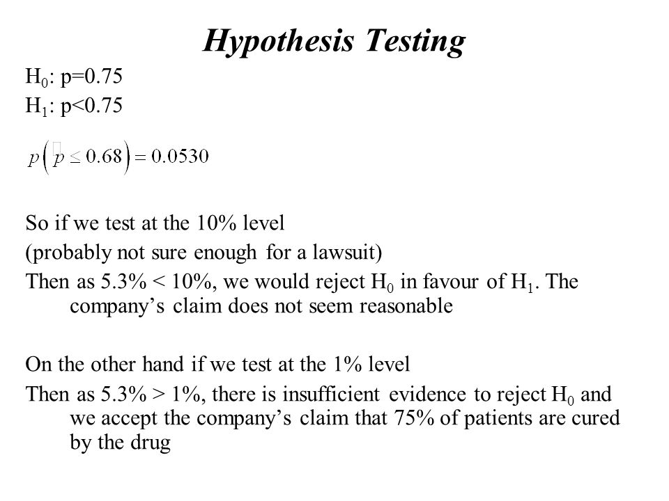 Hypothesis Testing H 0 : p=0.75 H 1 : p<0.75 So if we test at the 10% level (probably not sure enough for a lawsuit) Then as 5.3% < 10%, we would reject H 0 in favour of H 1.