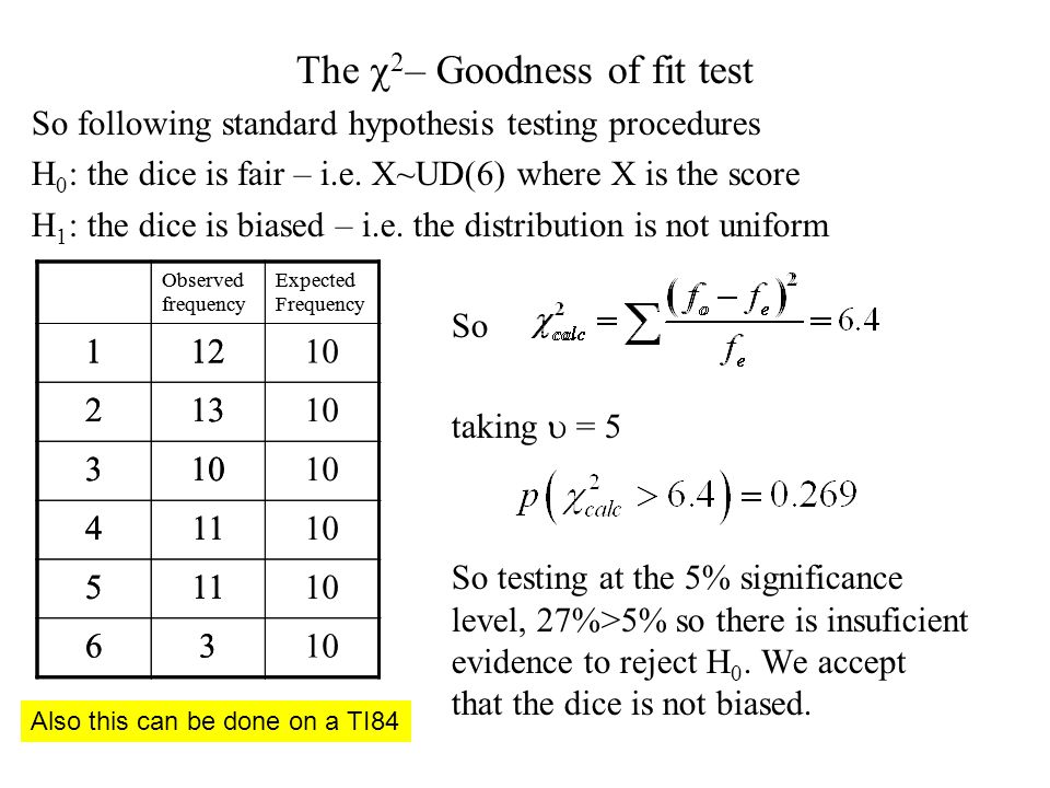 The  2 – Goodness of fit test So following standard hypothesis testing procedures H 0 : the dice is fair – i.e.