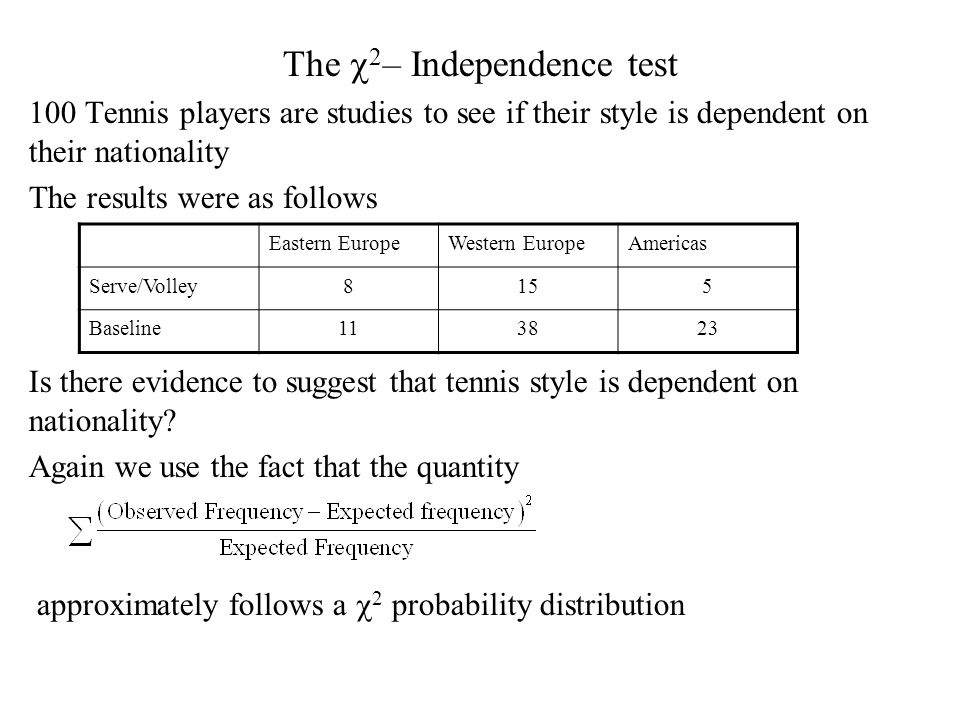 The  2 – Independence test 100 Tennis players are studies to see if their style is dependent on their nationality The results were as follows Is there evidence to suggest that tennis style is dependent on nationality.
