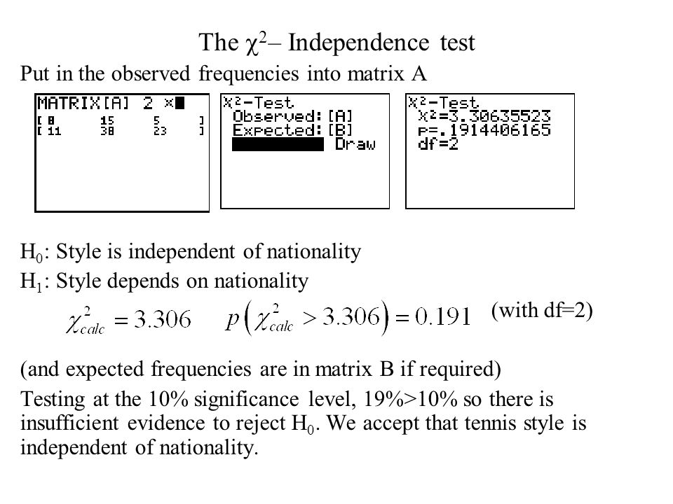 The  2 – Independence test Put in the observed frequencies into matrix A H 0 : Style is independent of nationality H 1 : Style depends on nationality (with df=2) (and expected frequencies are in matrix B if required) Testing at the 10% significance level, 19%>10% so there is insufficient evidence to reject H 0.
