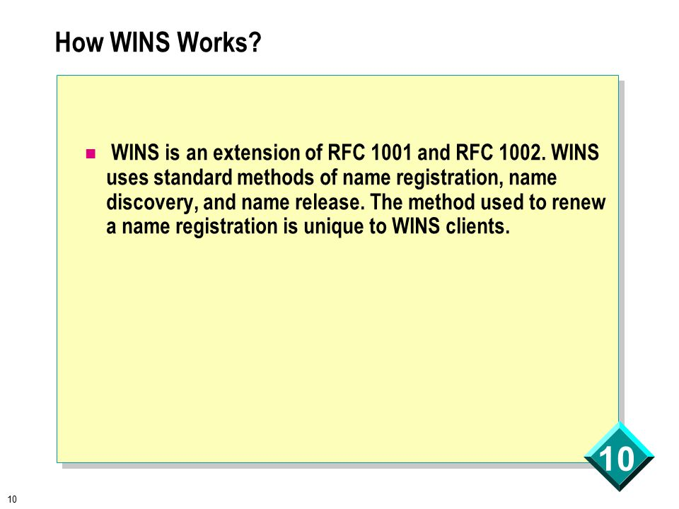 10 How WINS Works. WINS is an extension of RFC 1001 and RFC 1002.