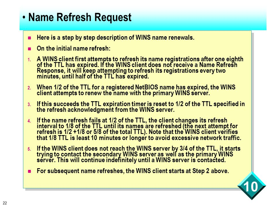 22 10 Name Refresh Request Here is a step by step description of WINS name renewals.