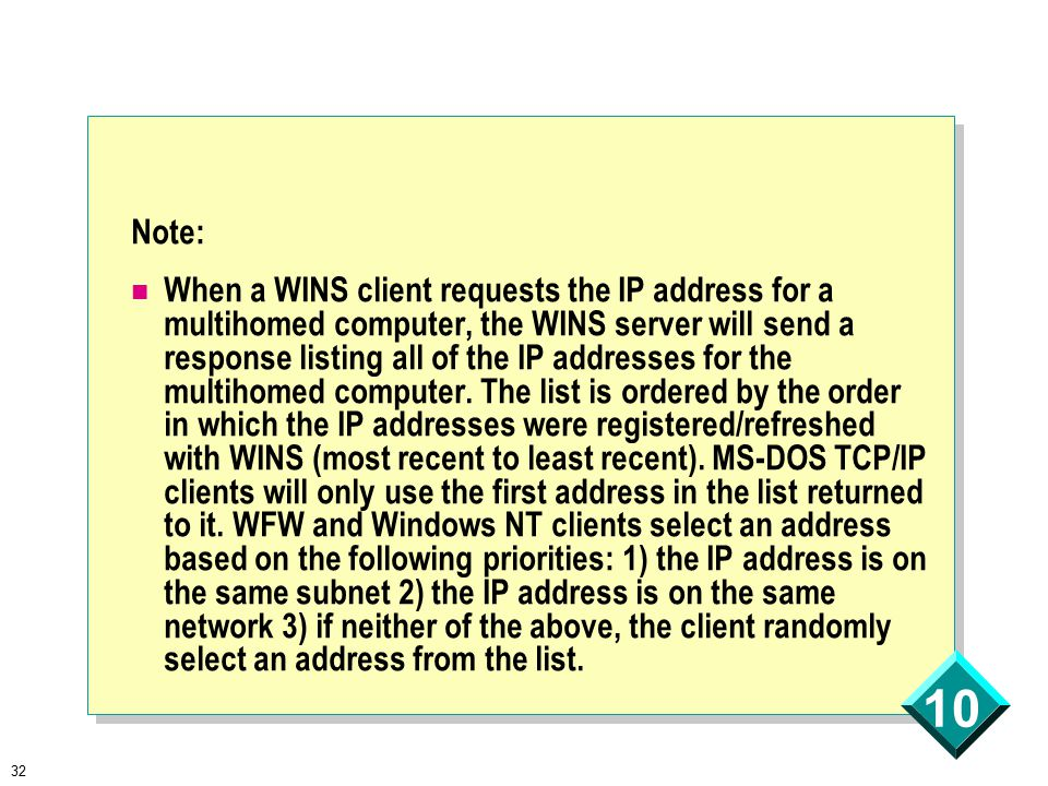 32 10 Note: When a WINS client requests the IP address for a multihomed computer, the WINS server will send a response listing all of the IP addresses for the multihomed computer.