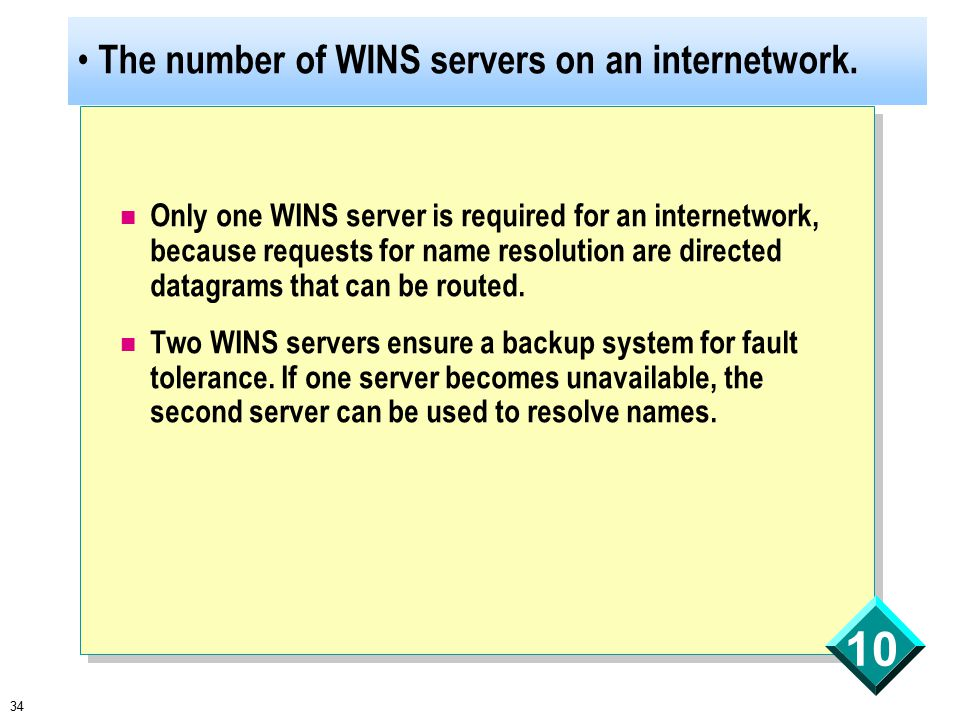 34 10 The number of WINS servers on an internetwork.