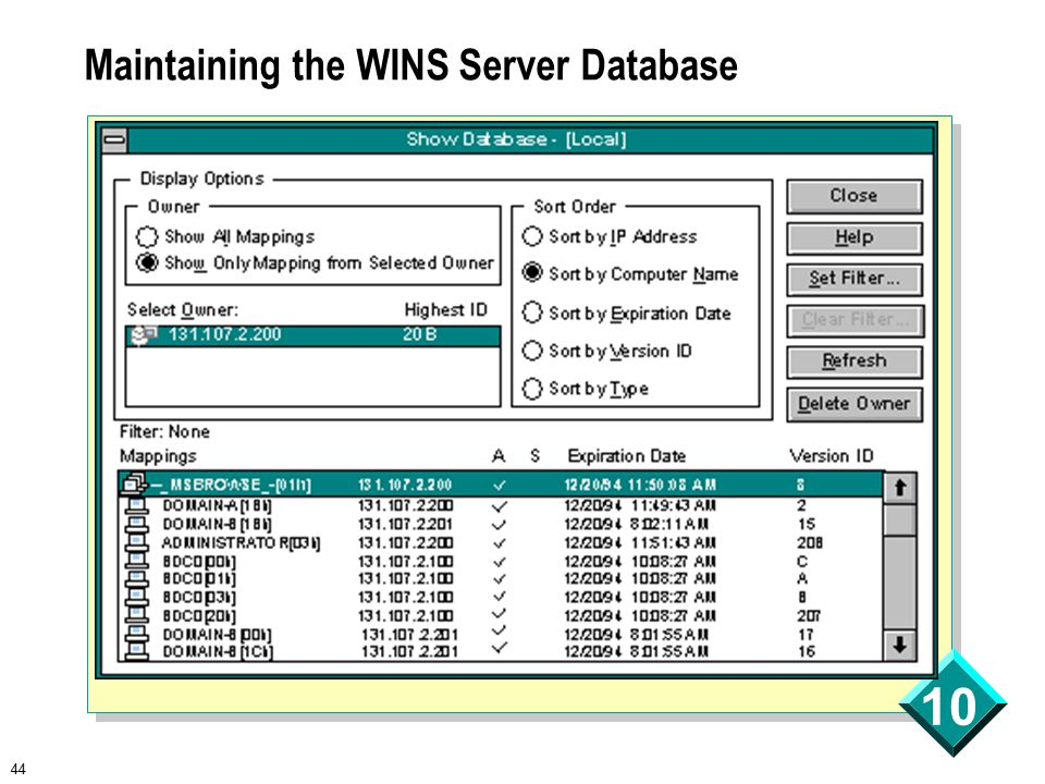 44 10 Maintaining the WINS Server Database