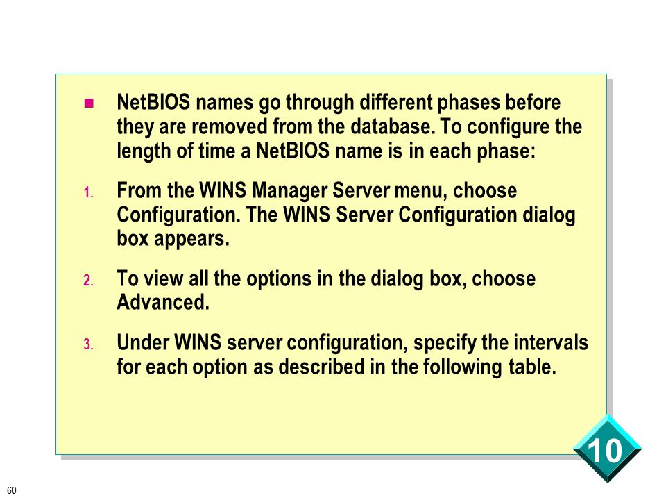 60 10 NetBIOS names go through different phases before they are removed from the database.