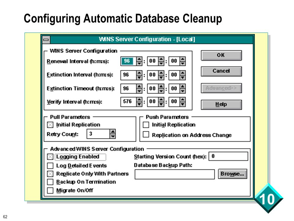 62 10 Configuring Automatic Database Cleanup