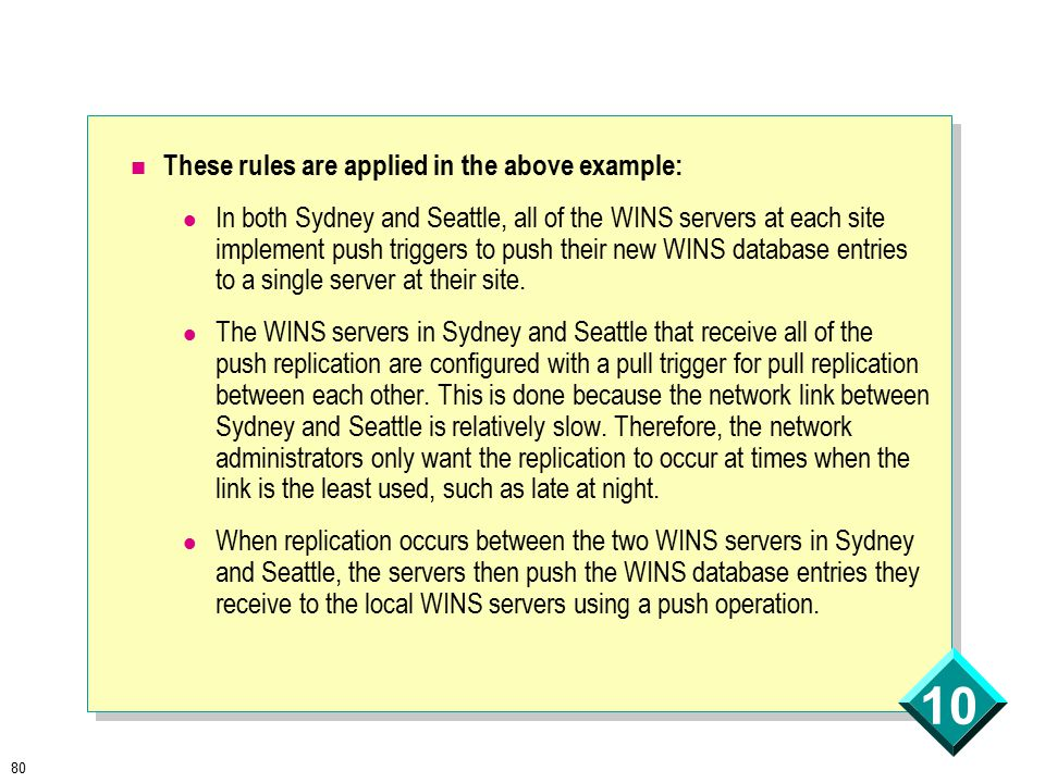 80 10 These rules are applied in the above example: In both Sydney and Seattle, all of the WINS servers at each site implement push triggers to push their new WINS database entries to a single server at their site.