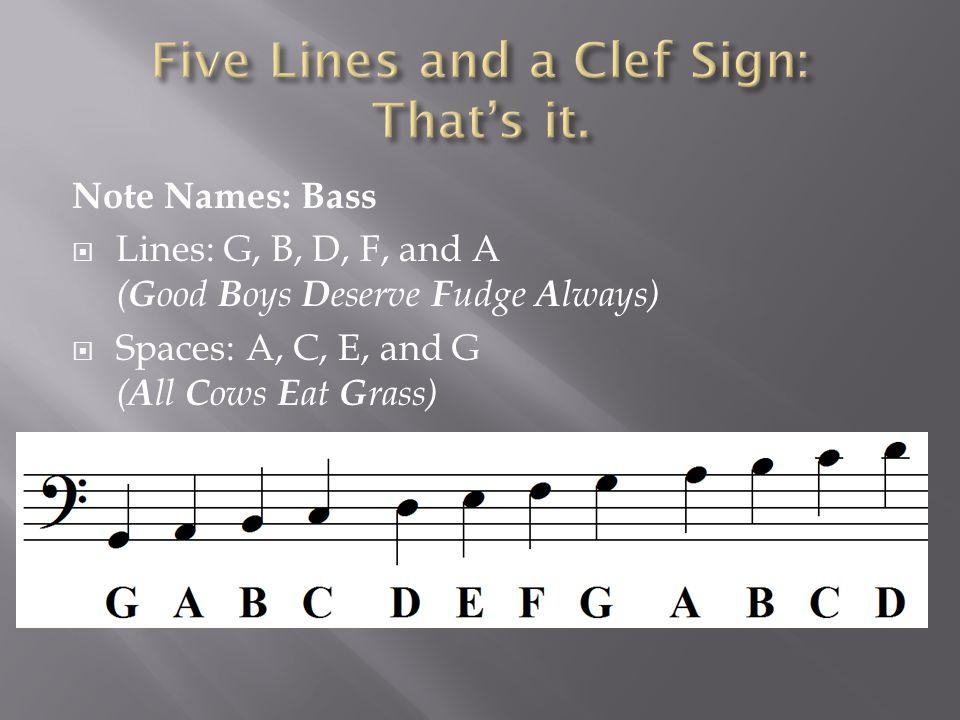 Note Names: Bass  Lines: G, B, D, F, and A ( G ood B oys D eserve F udge A lways)  Spaces: A, C, E, and G ( A ll C ows E at G rass)