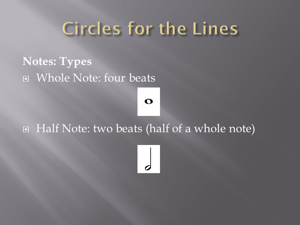 Notes: Types  Whole Note: four beats  Half Note: two beats (half of a whole note)