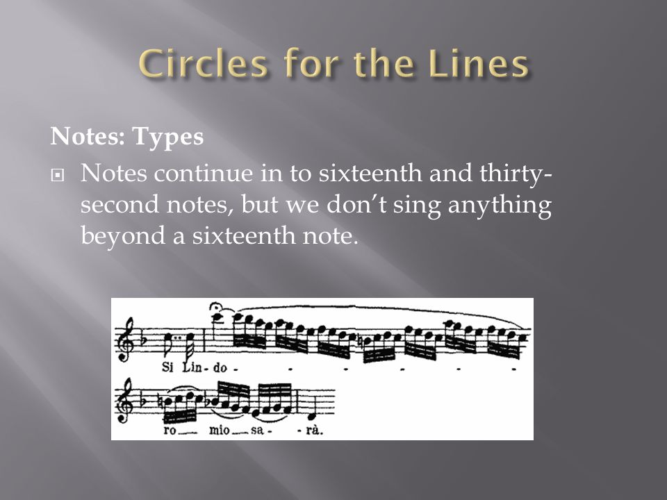 Notes: Types  Notes continue in to sixteenth and thirty- second notes, but we don't sing anything beyond a sixteenth note.