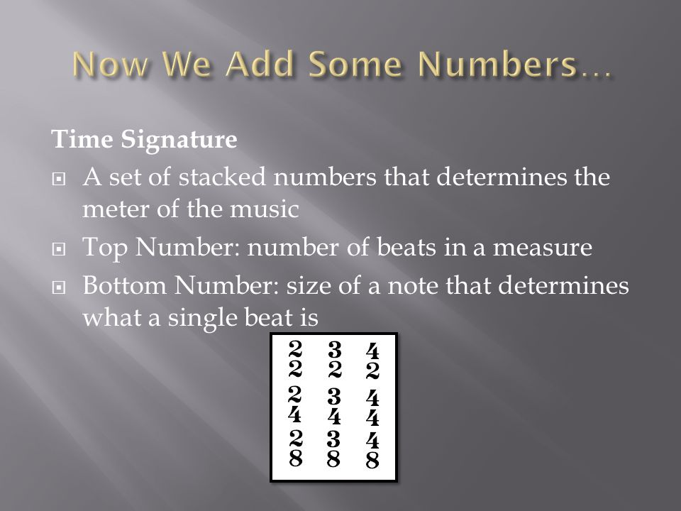 Time Signature  A set of stacked numbers that determines the meter of the music  Top Number: number of beats in a measure  Bottom Number: size of a note that determines what a single beat is